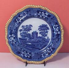 Old Spode TOWER BLUE Antique Dinner Plate Copeland Gold Trim RARE Cobalt Gadroon