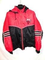 Vintage 90s L Chicago Bulls Winter Coat Parka Mens Fan Gear Red Black Stitched