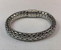 """Wide John Hardy Woven 8"""" Sterling Silver Chain Bracelet"""