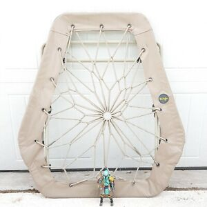 BUNJO Bungee Chair Hex Dreamcatcher Great For Dorms, College, Kids Foldable Tan