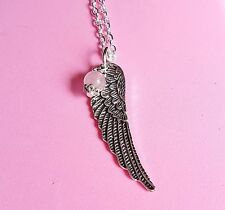 "large guardian angel wing rose quartz pendant necklace 20"" silver plated chain"