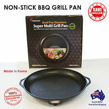 Portable Korean BBQ Round Grill Non Stick Marble Coating Gas Stove Pan Plate