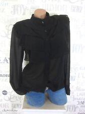 Damen ITALY Chiffon Bluse Tunika Shirt Hemd Volant Gr. 36 38 40 Schwarz E27