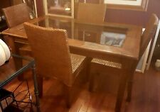 Beautiful dining set..rustic table with smoke glass table top and 4 matching wid