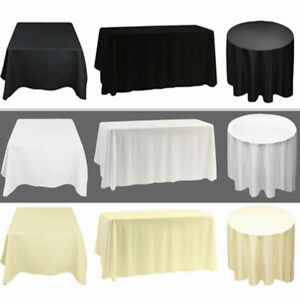 1 5 10 White Black Ivory Polyester Tablecloth Large Table Cloth Cover Wedding