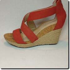 Adrienne Vittadini Coral Leather Cross Strap Wedge with Back Zipper 9