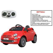 Auto macchina elettrica radiocomandata Fiat 500 rossa per bambini 12V bimbo