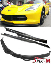 For 14-Up Corvette C7 Z06 Carbon Stage 2 Front Lip Bumper W/ Side Skirts