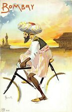 POSTCARD COMIC CYCLISTS OF THE WORLD - BOMBAY  -  ROSETTI - VINTAGE