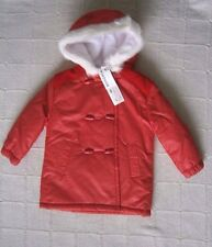 Vintage Hooded Baby Coat - 18 months - Red - Fleece-Lined - Fur Trim Hood - New