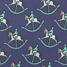 HERMES Rare Rocking Horse Equestrian Jockey Blue Tie 7373 PA Mens Silk Necktie