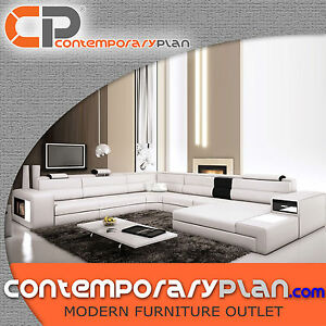 Polaris White Italian Leather Sectional Sofa - Modern Design U Shape Comfortable