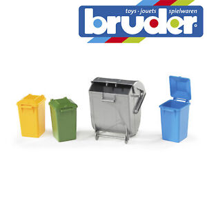 Bruder Accessories: Garbage Can Set (3 Small, 1 Large) Toy Model Scale 1:16