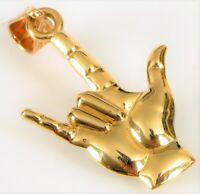 VTG DESIGNER SIGNED QG QUALITY GOLD 14K YELLOW GOLD ROCKER CONCERT PENDANT !