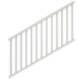 Outdoor Stair Railing Kit White 6 ft. x 36 in. Vinyl Rail Deck Porch Balusters