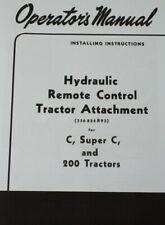 Ih Farmall C Super C 200 Hydraulic Remote Auxiliary Control Valve Manual