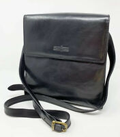 New Vintage Gianni Conti Black Leather Cross Body Purse Shoulder Bag