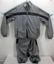 VINTAGE REEBOK RAILROAD GREY/BLACK 2-PIECE POLY FLEECE TRACK SUIT MEN'S MEDIUM