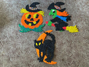 Vtg Halloween Melted Popcorn Plastic Decoration LOT 3 WITCH CAT MOON PUMPKIN 🎃