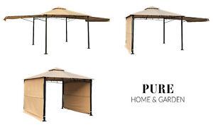 "XL Pavillon ""Mauii"" mit 2 klappbaren Seitenteilen Garten Pavillion Zelt Stabil"