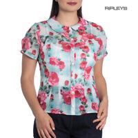 Hell Bunny 50s Shirt Top Green Pink Susannah SUZANNAH Blouse Roses All Sizes