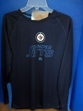 MAJESTIC~Navy Blue LONG SLEEVE NHL WINNIPEG JETS Cool Base SHIRT~Men's Large~NWT