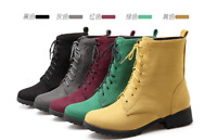 Women Martin Boots Ankle Boots 2019 Autumn New Suede Lace-up Short Multicolor