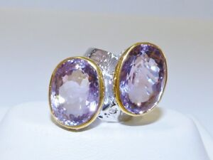 GENUINE! 24.75cts! Brazilian Ametrine Two Stone Ring Solid Sterling 925!!