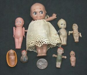 Lot Antique Celluloid Dolls Including Some Kewpie Type