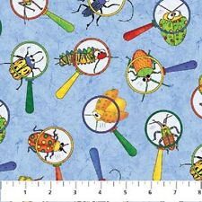 I Spy Amazon Cotton Quilt fabric by Northcott BTY Spy Glass Bugs on Blue 899-42