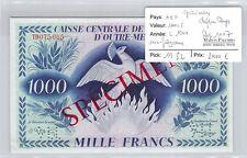BILLET AEF - SPÉCIMEN - 1000 FRANCS - L1944 - CHIFFRES ROUGES - AVEC FILIGRANE