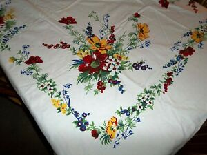Vintage Dark Rich Flower Garden Cotton Tablecloth 74 x 63