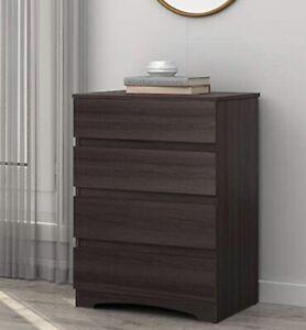 WLIVE 4 Drawer Dresser, Chest Of Drawers, Wood Storage Organizer Unit  Gray Oak