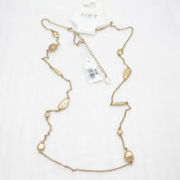 Ann Tyalor LOFT jewelry antique gold tone long necklace cut crystals beads chain
