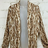 Chico's Women's Animal Print Open Front Cardigan Earth Tones Size 2 Large