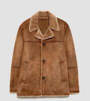 lambswool Men's real sheepskin leather Lined collar jacket new Coats outwear