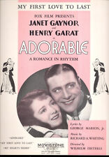 """ADORABLE Sheet Music """"My First Love To Last"""" Janet Gaynor Henry Garat"""