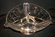 Vintage Duncan & Miller Glass Three Feathers Star Divided Sterling Silver Bowl