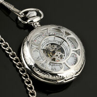 Mens Pocket Watch Mechanical Silver Case Half Hunter Roman Numerals Chain Luxury