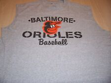 GENUINE MLB BALTIMORE ORIOLES SLEEVELESS GRAY T-SHIRT MENS 2XL EXCELLENT