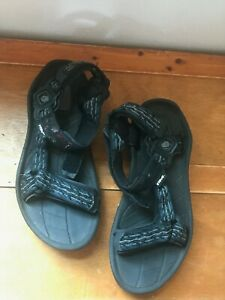 Gently Used Teva Men's Size 8 Black Blue & Gray Nylon Strapped Water Hiking Sand