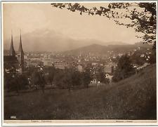 Sommer. Suisse, Luzern, Panorama Vintage albumen print. Tirage albuminé  20x