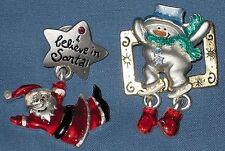 2 Ajmc Christmas Pins Snowman & Santa Claus