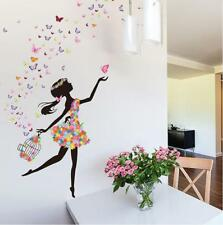 Wall Sticker Removable PVC Flower Girls Wall Decals Art Stickers Living Room