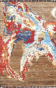 New Abstract Oriental Contemporary Area Rug Wool Hand-knotted 3'x4' Foyer Carpet