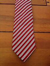 """Countess Mara Striped 100% Silk Red White Striped Classic 3.25"""" Wide Tie"""