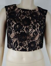 City Chic Black Lace Sleeveless Decadent Crop Top Plus Size L 20 #t13