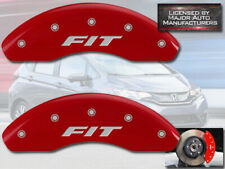 """2009-2019 Honda """"Fit"""" Front Red Engraved MGP Brake Disc Caliper Covers 2pc Set"""