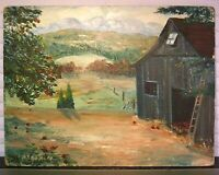 IMPRESSIONIST OIL PAINTING BARN MOUNTAIN LANDSCAPE SIGNED