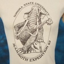 vtg 1982 SONOMA STATE MAMMOTH FOSSIL CARTOON T-Shirt XS california geology 80s